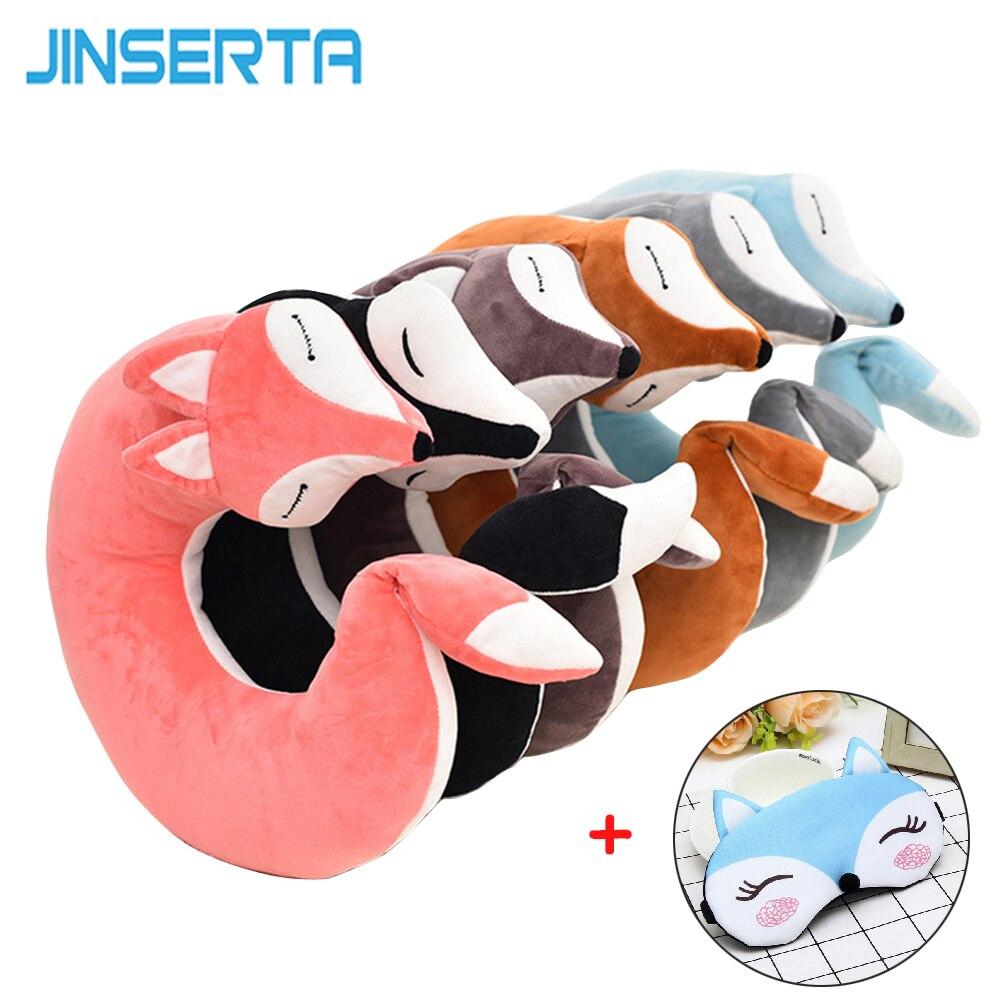 JINSERTA Lovely Fox Animal Cotton Plush U Shape Neck Pillow Car Home Travel Pillow Nap Health Care Pillow for Children Kid Adult
