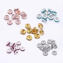 50 teile/los Neue Ankunft 4 6 8 mm Strass Spacer Perlen für DIY Kristall perlen Spacer Perlen DIY Schmuck Machen werkzeug Handwerk