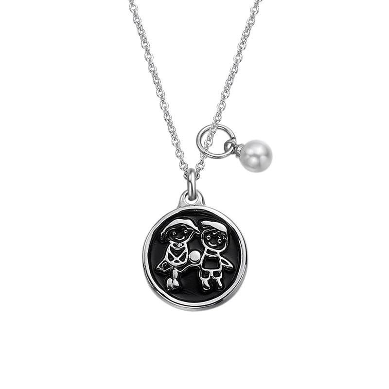 Vintage mejor amigo amistad collar pequeño niño niña colgante perla joyería regalo acero inoxidable