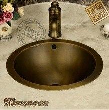 Évier de salle de bains rond   Lavabo européen antique en laiton bronze rond