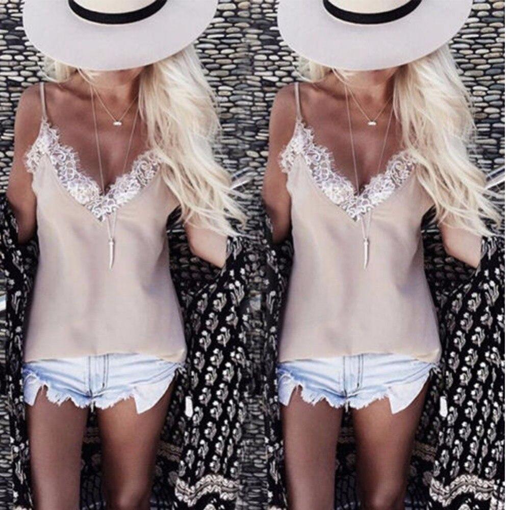 Mode Sommer Frauen Spitze Weste Ärmelloses Shirt Lose Tops