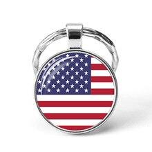 Amérique du nord pays drapeau porte-clés états-unis Canada Costa Rica mexique drapeau verre Cabochon pendentif porte-clés amis cadeaux
