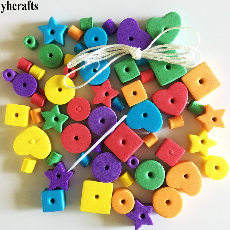 1 beutel (66 stücke)/LOT. geometrische figur schaum schnürung perlen. kreative handarbeit. frühen pädagogisches spielzeug. kindergarten handwerk perlen spielzeug billig