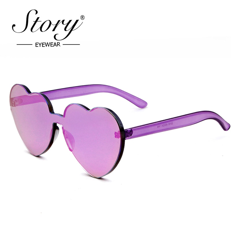 STORY Brand Designer New Heart Shaped Sunglasses 2018 Candy Color Coating Mirror Lens Sun Glasses UV400 For Women Love Gifts