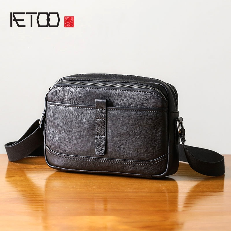 AETOO Handmade shoulder bag mens leather soft fashion casual cross section diagonal first layer cowhide