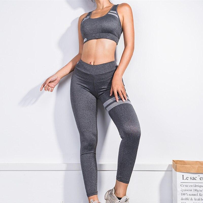 2019 Calças de Yoga Yoga Definir Esporte Mulher Leggings Desgaste Da Aptidão Ginásio Leggings Femme Esporte Suit Top + Inferior Roupas de Corrida