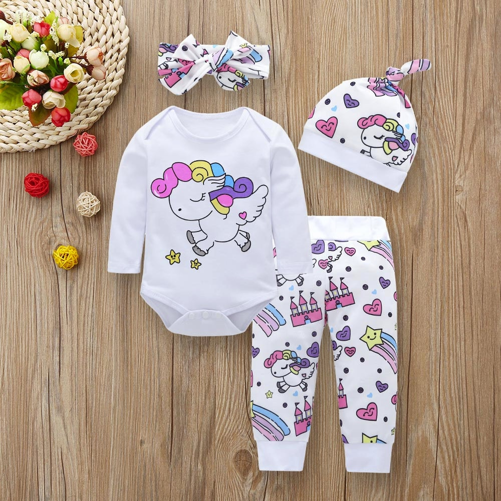 Newborn Infant Baby Girl Clothes Sets Unicorn Pegasus Star Castle Tops+Pants+Hat+Headband 4PCS Infant Baby Girl Clothing Outfits