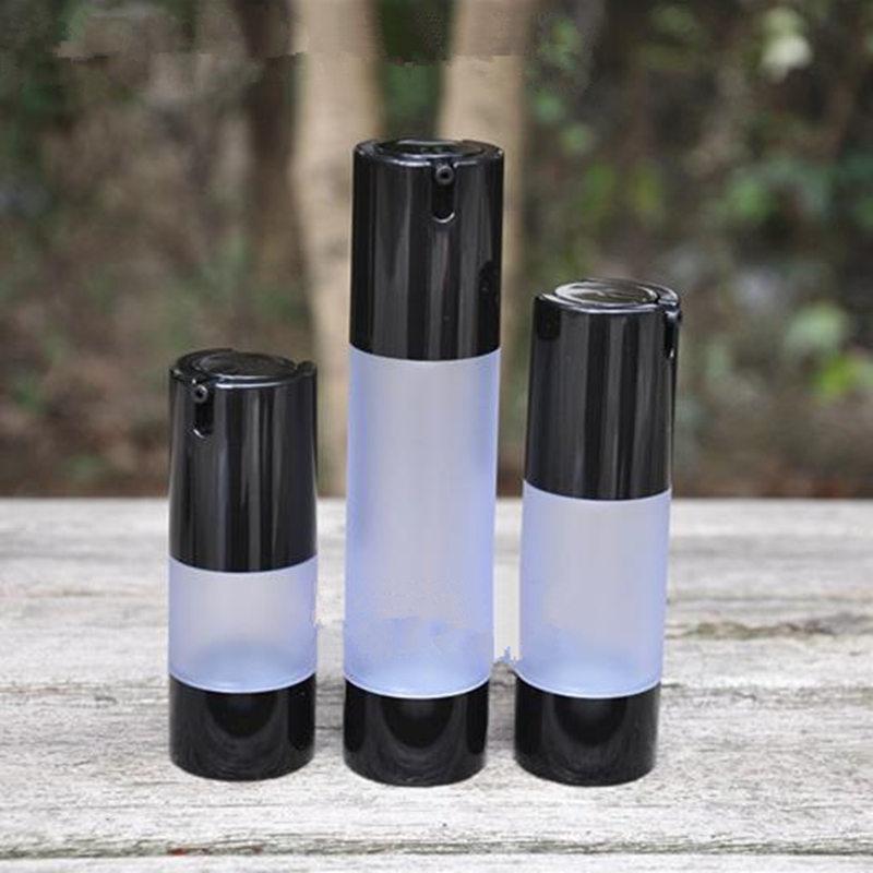 زجاجات خالية من الهواء سوداء عالية الجودة ، حاوية محلول قابلة لإعادة الملء ، أدوات مكياج ، 15 مللي ، 30 مللي ، 50 مللي ، f2017 ، 1105