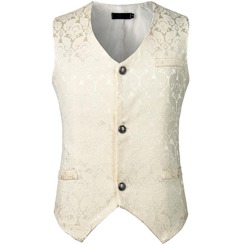 Homens medieval vitoriano colete branco jacquard único breasted gótico steampunk colete masculino casamento noivo gilet traje