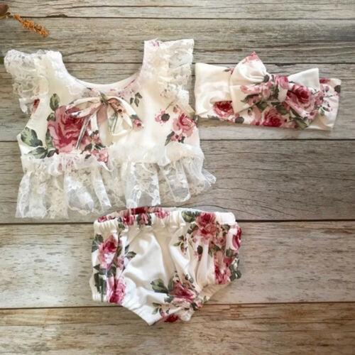 Summer Princess Newborn Toddler Baby Girls Lace Floral Tops Dress Harem Shorts Pants Headband Clothes Outfit Sunsuit