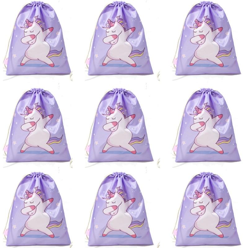 Unicornio cordón bolsillo cuerda-tirar mochila niñas lindo bolsa de tela de poliéster Dancing Horse al por mayor bolsas de regalo rosa