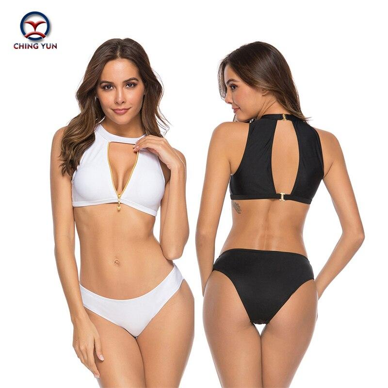 Bikini de mujer CHING YUN, bañador Sexy con diseño calado, Bikini de dos piezas de Metal con cremallera, Copa dura, Bikini para playa, vacaciones, traje de baño