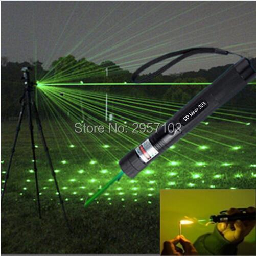 Potente linterna militar de alta potencia de 500w, 500000M, 532nm, puntero láser verde, luz LED enfocable para quemar cigarrillos