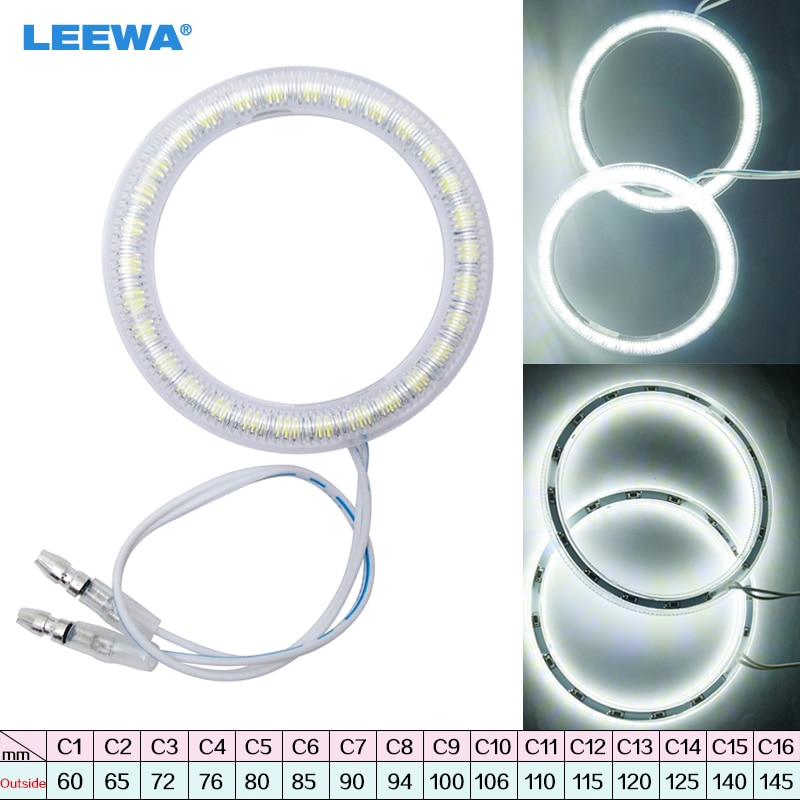 LEEWA 1pc Universal Car LED Halo Rings Angel Eyes DRL Head Lamp Multi-Size for Choice White #CA1445