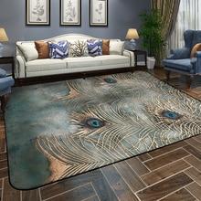 Peacock Carpet Living Room Rug European Style Simple Modern Bedroom Mat Tea Table Sofa Room Bedside Home Rectangular
