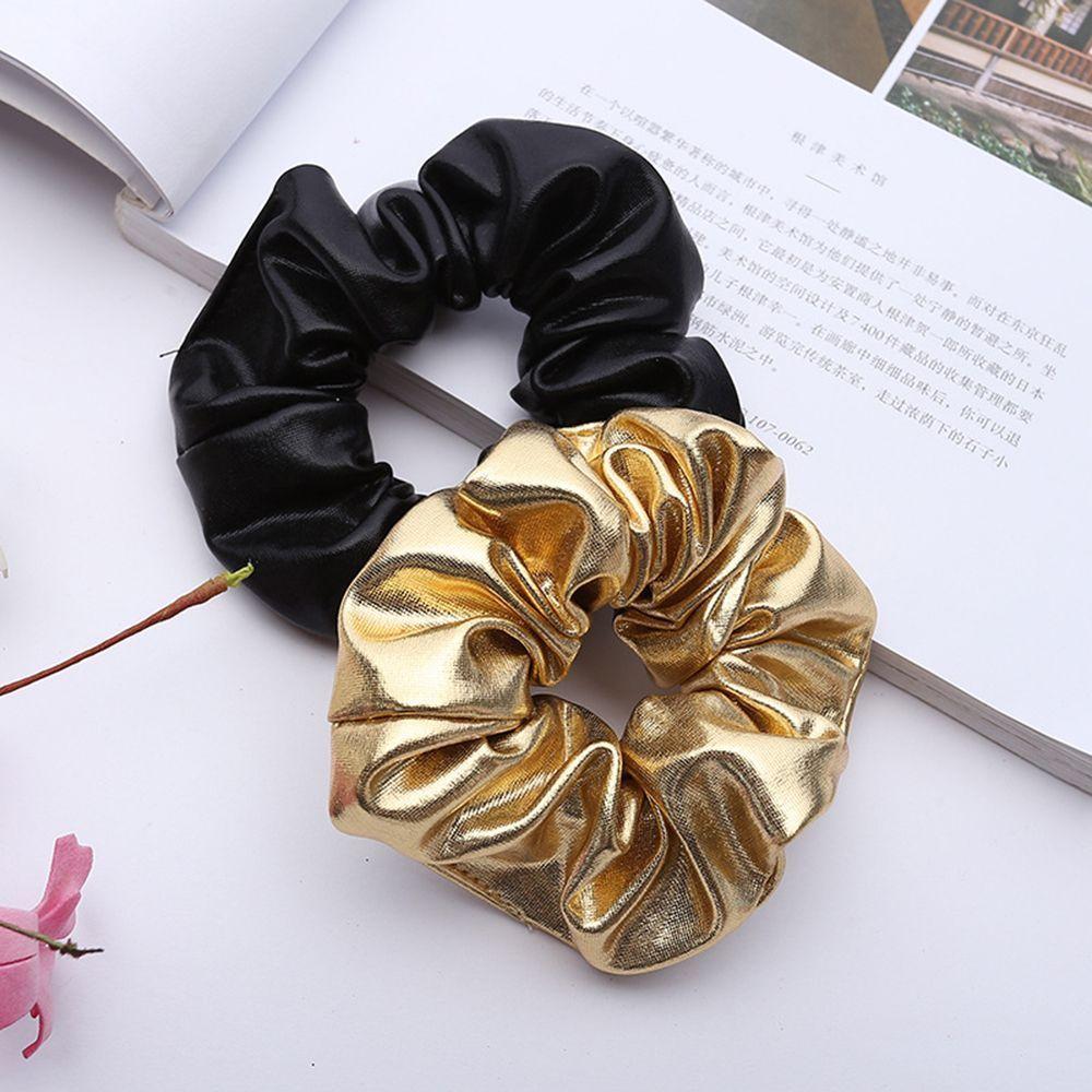 PU deri saç bağları kadınlar kız altın siyah elastik Hairband at kuyruğu tutucu Scrunchie halat saç aksesuarları şapkalar