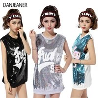 danjeaner nightclub ds costumes new female songs show jazz dance clothing hip hop hip hop costume sleeveless sequins tops
