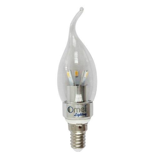 Paquete de 6 bombillas LED de 3W E14 Base DE candelabro blanco frío 6000K luz de vela Punta de Llama luz LED de araña