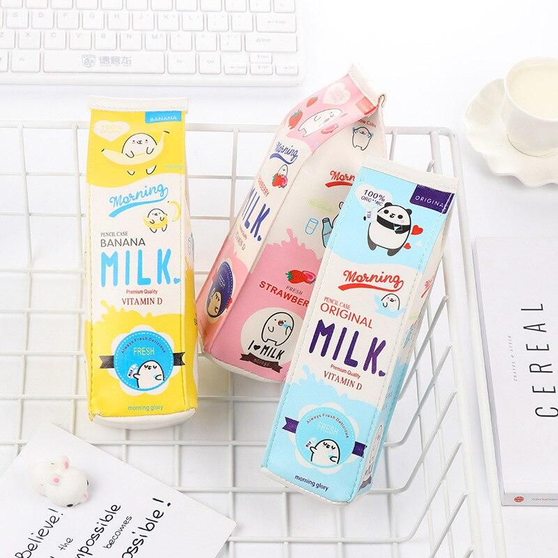 Creative Cartoon Morning Milk PU Leather Pencil Case Stationery Student Storage Organizer Bag School Office Supply