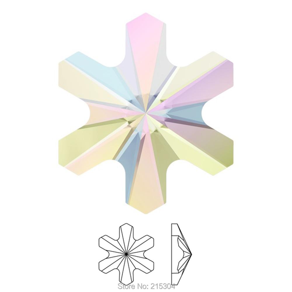 Swarovski Elements Rivoli Snowflake (2826) AB Crystal ( No Hotfix or Hotfix ) Iron On ( 5mm ) Flat Back Rhinestones