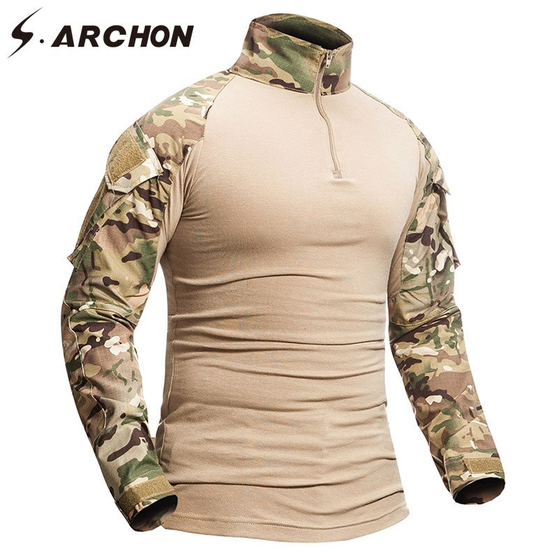 S.アルコン軍事迷彩シャツ男性 12 色の綿の長袖軍の戦術的なシャツ兵士分隊武装生き抜くシャツ