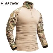 S.ARCHON askeri kamuflaj gömlek erkekler 12 renk pamuklu uzun kollutişört ordu taktik gömlek asker takımı silahlı giyim gömlek