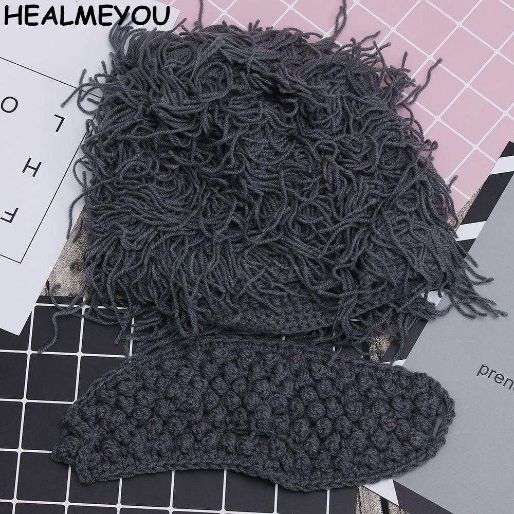 Peluca sombreros con barba Hobo científico loco hombre de las cavernas hecho a mano de punto cálido gorros de invierno hombres mujeres regalos de Halloween divertidos gorros de fiesta