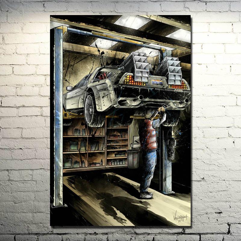 De volta ao futuro carro delorean DMC-12 filme fã arte cartaz 13x20 24x36 polegadas (novo)