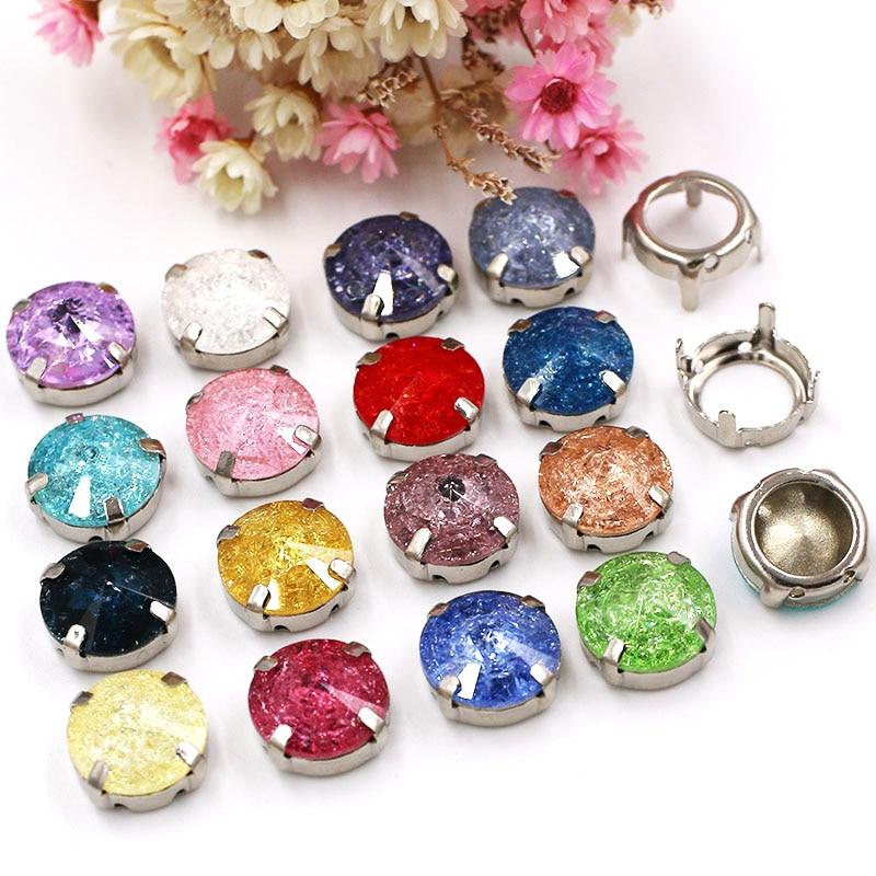 NEW Wedding decoration Round shape Glass Crystal rhinestones Sliver base sew on flatback rhinestones for clothing