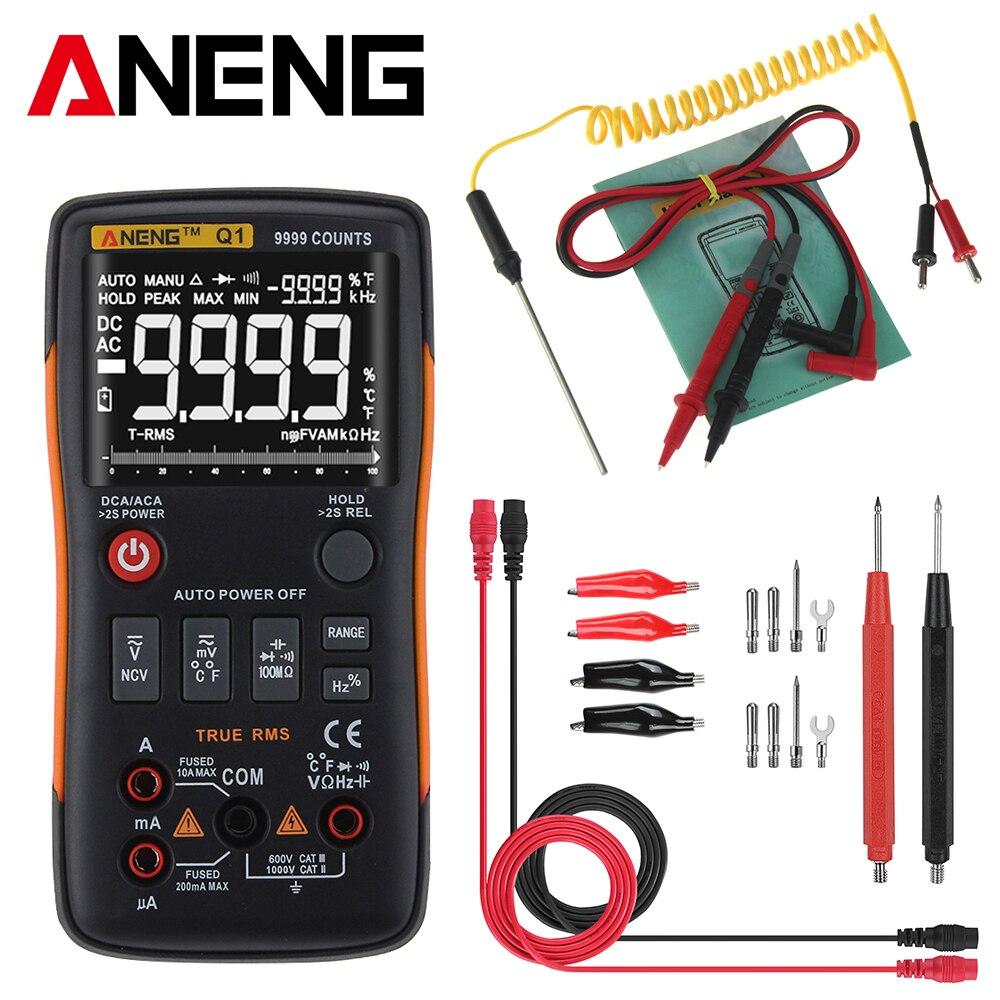 Q1 رقمي متعدد ، جهاز اختبار الترانزستور ، 9999 عد مع شريط تناظري مخطط ، مقياس التيار الكهربائي ، مقياس التيار الكهربائي ، أوم ، اختبار الأسلاك ال...