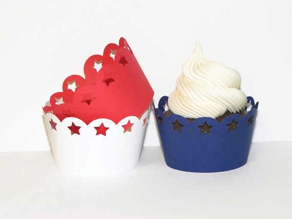 Патриотическая звезда обертки для кексов. Украшения на День памяти. 4 июля. Американские товары для вечеринок. Красный, белый, синий. День Нез...