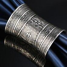 1 pc boho ethnique vintage argent couleur fleur sculpture totem extrémité ouverte manchette bracelet croix bracelet armlet femmes bijoux cadeau