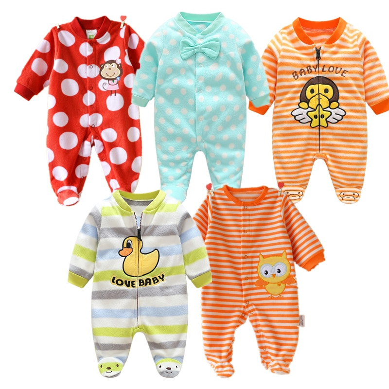 baby rompers kids infant winter newborn flannel jumpsuit pajamas thickken warm boys clothes girls hooded coat pant 2pcs set w142 0-12M Baby Rompers Winter Warm Fleece Clothing Set for Boys Cartoon Monkey Infant Girls Clothes Newborn Overalls Baby Jumpsuit
