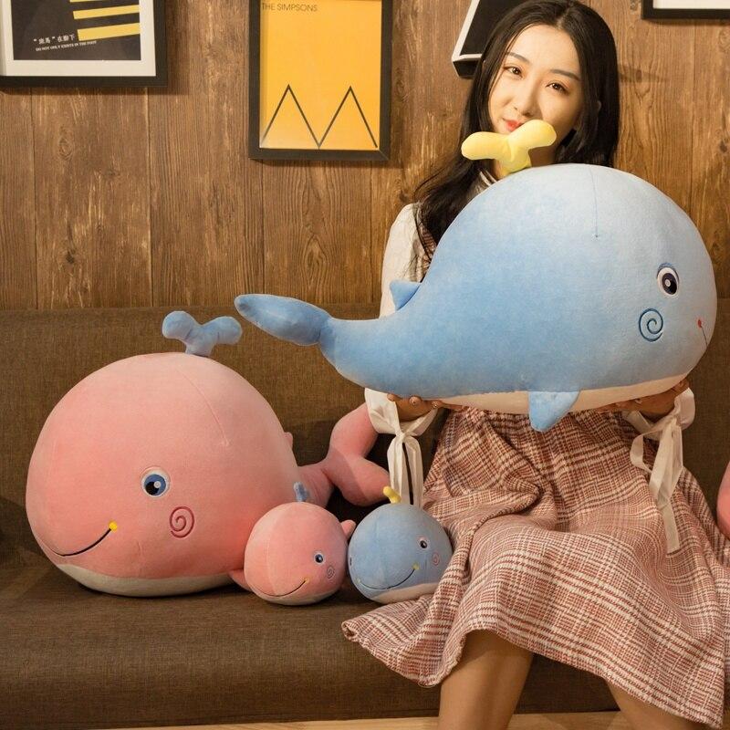 Ballena acuática muñeco de peluche rosa/azul pulverización agua ballena de juguete tímido Cuddly niños niñas Plushie regalo
