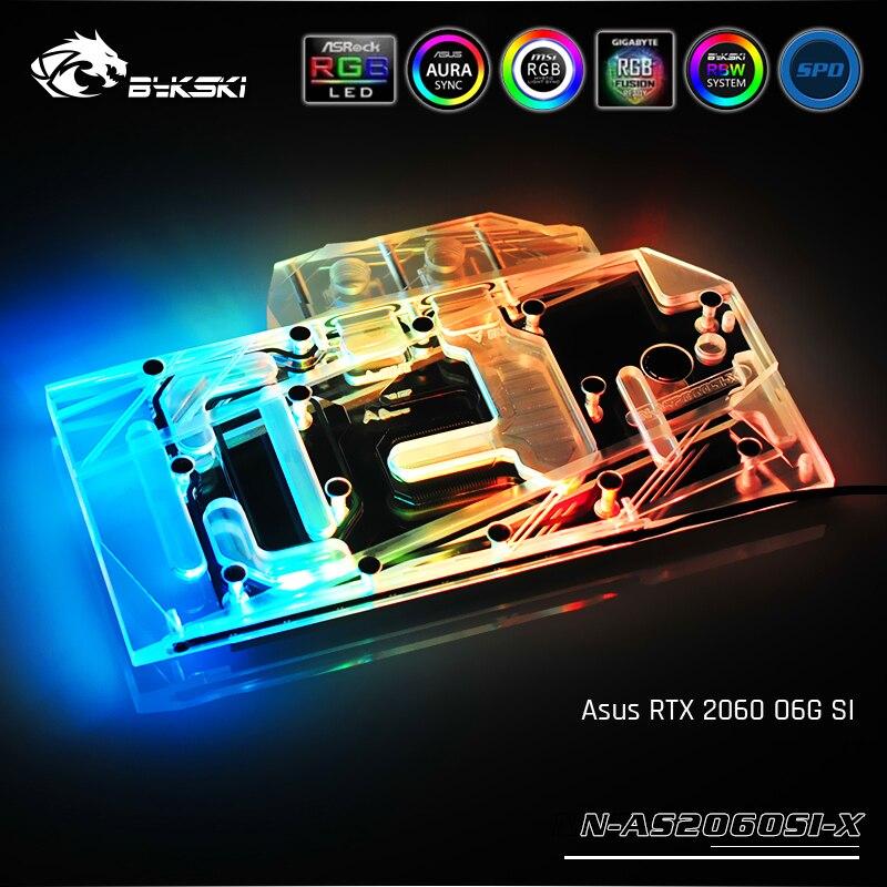 Bykski N-AS2060SI-X ، غطاء كامل بطاقة الرسومات كتلة تبريد المياه ، لأسوس RTX 2060 O6G SI