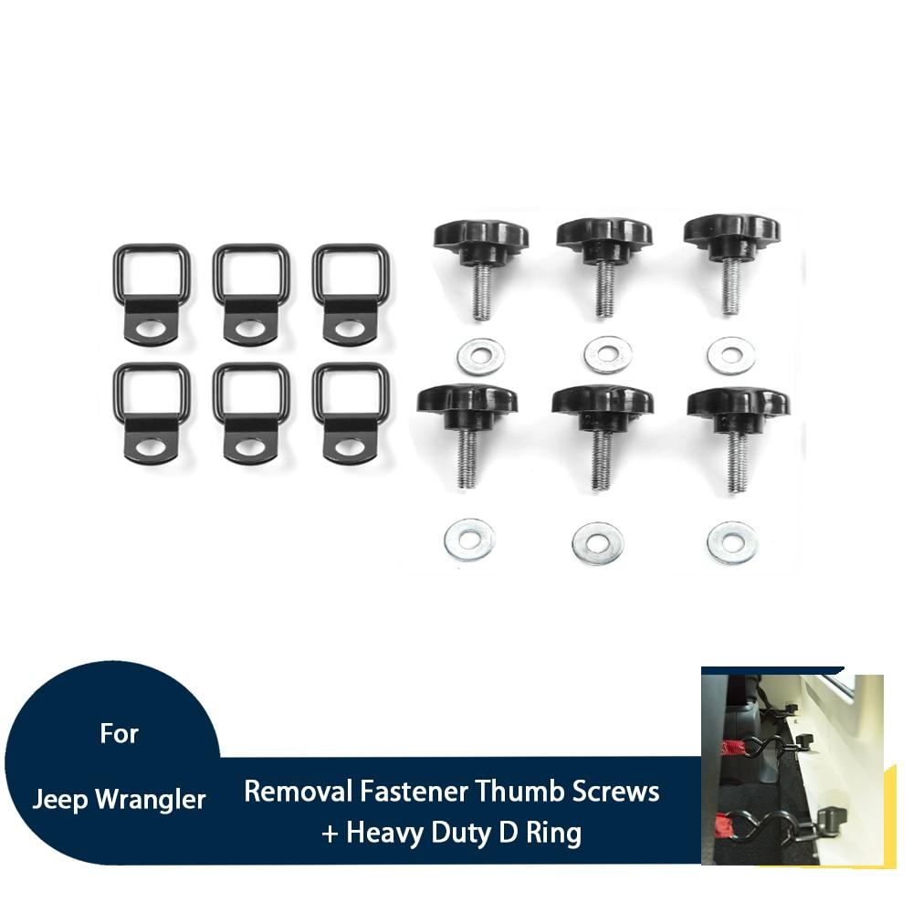 18PCS Metal Car Hardtop Quick Removal Fastener Thumb Screws Heavy Duty D Rings Kits For Jeep Wrangler 07+ 2/4 Doors Accessories