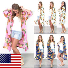 Pineapple Chiffon Pareo Cover Up Women Vintage Loose Blouse Summer Coat Shawl Cardigan Bathing Suit Sunscreen Beachwear