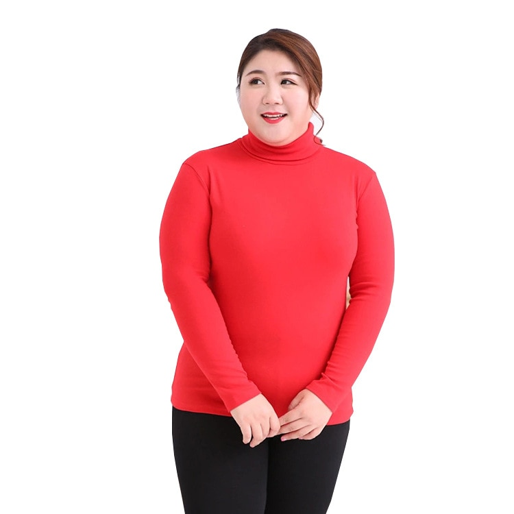 Super size women's fat MM high collar bottoming shirt 100 kg thermal underwear long-sleeved T-shirt ladies tight pajamas enlarge