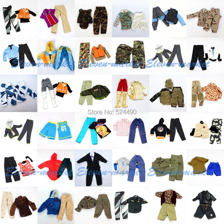 Lots 5 sets Doll Outfit Plug Suit Ball Uniform / army combat uniform / Leasure Wear Clothes Accessories For Barbie Boy Ken Doll