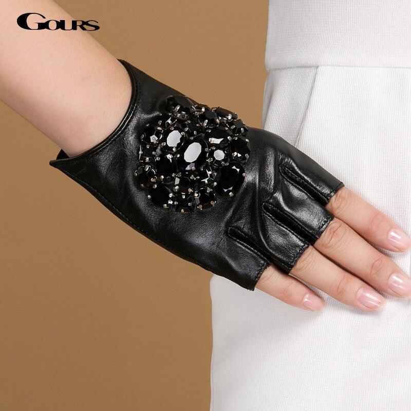 Gours-gants dhiver en cuir véritable   Gants dhiver en cuir véritable pour femmes, gants de marque de mode sans doigts pour conduite en pierre noire GSL040