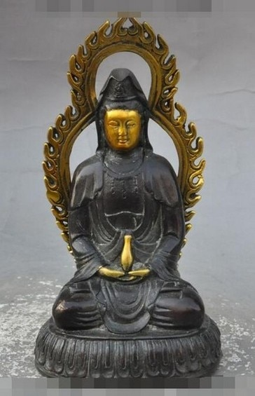 "YM 321 6 ""antiguo budismo chino Joss bronce dorado kwanyin jarrón Guanyin estatua de Bodhisattva"