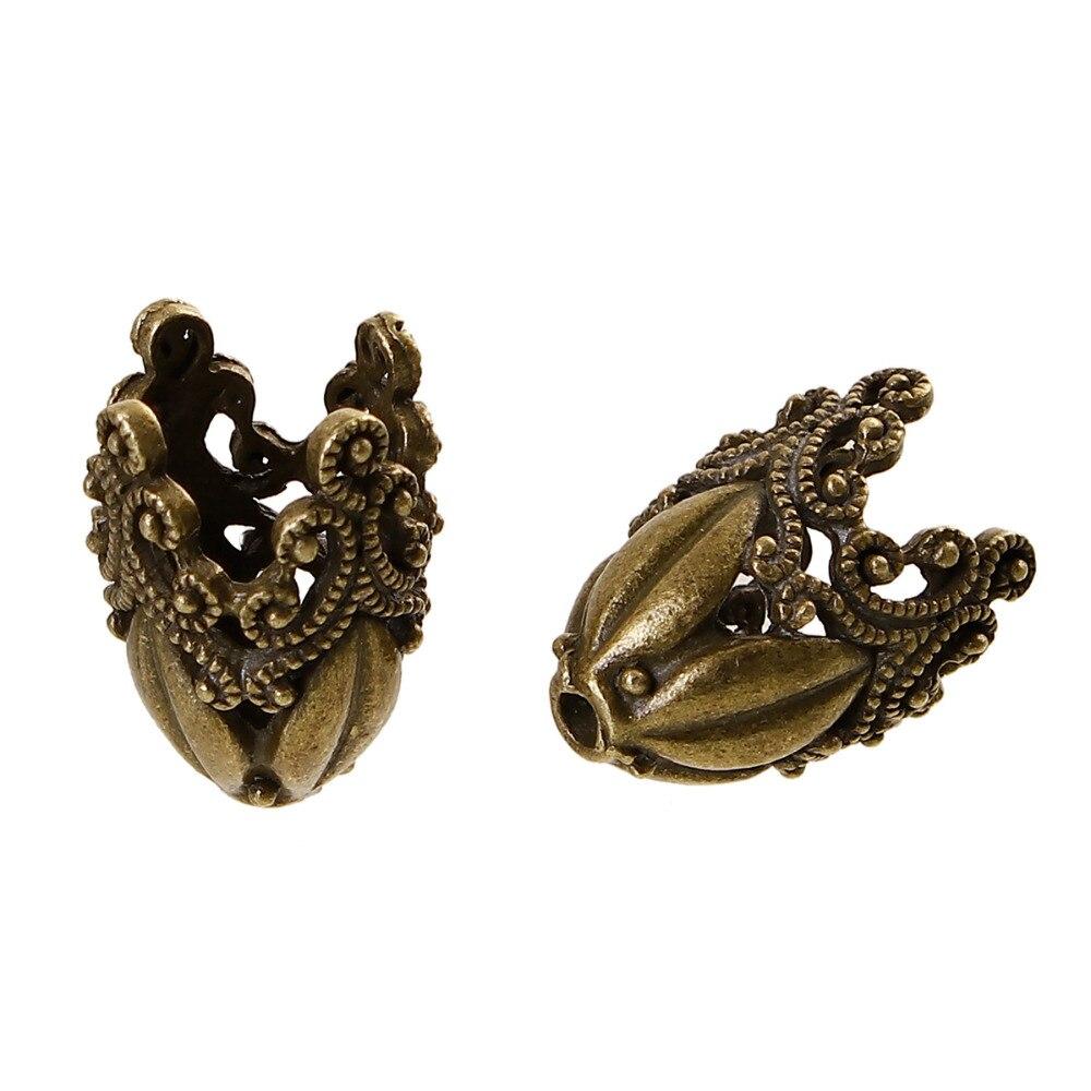 Quente zinco baseado liga contas bonés para jóias diy descobertas antigo bronze cor filigrana flor para brincos artesanais componentes