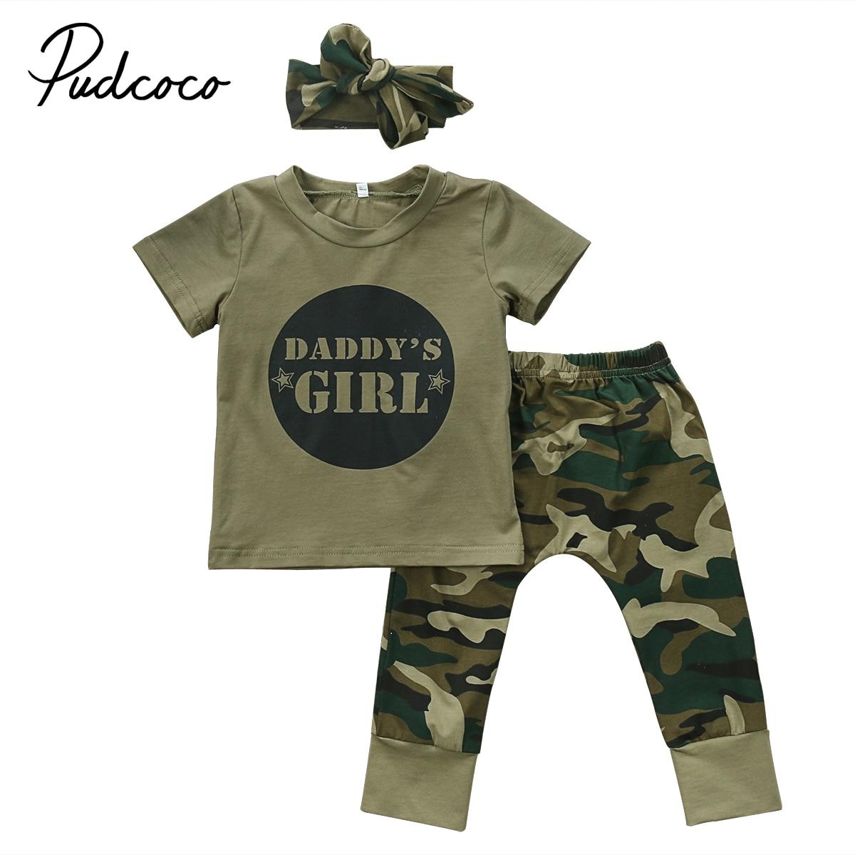 Newborn Baby Boy Girl Camo T-shirt Tops Pants Outfits Set Clothes 0-24M