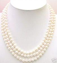 Livraison gratuite 3 cordes AAA + 7MM AKOYA collier de perles deau salée AAA
