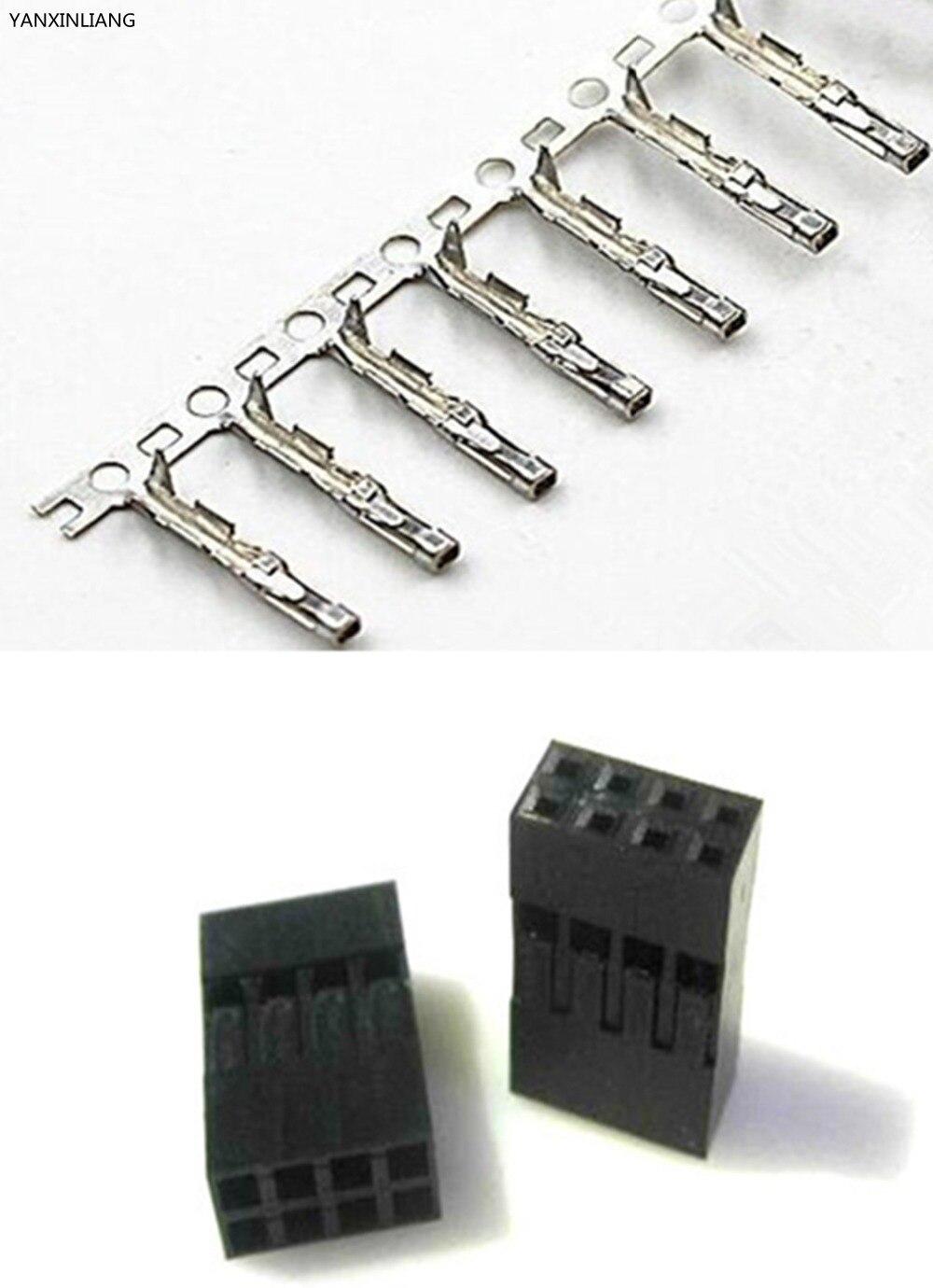 50 комплектов шаг 2,54 мм 2x4 Pin 8Pin двухрядный Dupont перемычка провода кабель женский контактный разъем и корпус Мужской терминал