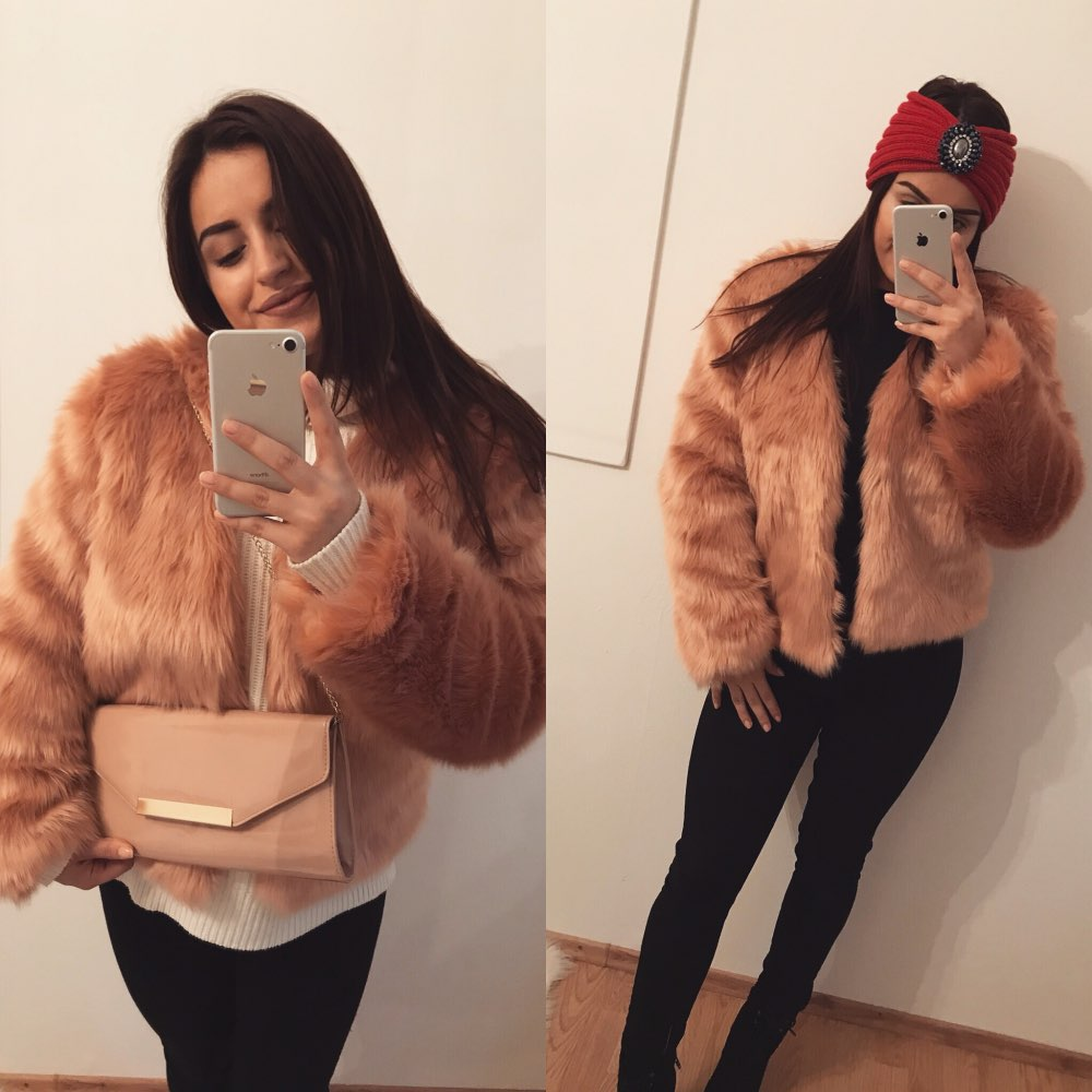 Luxury Fluffy Rabbit Fur Coat Women Winter Collarless Long Sleeve V-neck Fur Jackets Overcoat Wedding White Short Coat 6Q1216