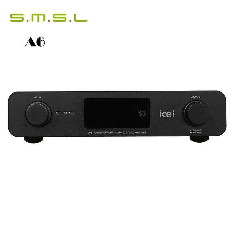 Amplificadores DAC SMSL A6 HiFi Digital AMP AK4452 + CM6632A + NJW1194A 50Wx2 DSD512 384 KHZ/32Bit óptica/Coaxial/XMOS USB/decodificador de Audio