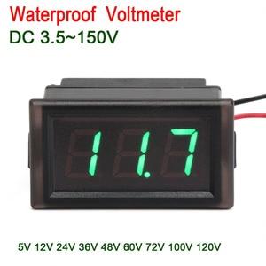 Waterproof Digital Meter DC 3.5~150V Led Voltmeter 12V 24V 36v 48v 72v car Motor