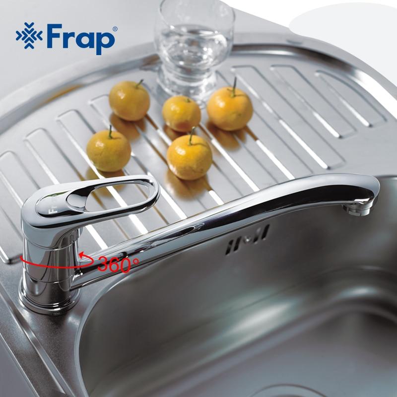 Grifo de cocina Frap de un solo mango montado en cubierta de latón con rotación de 360 acabado cromado F4903 F4904