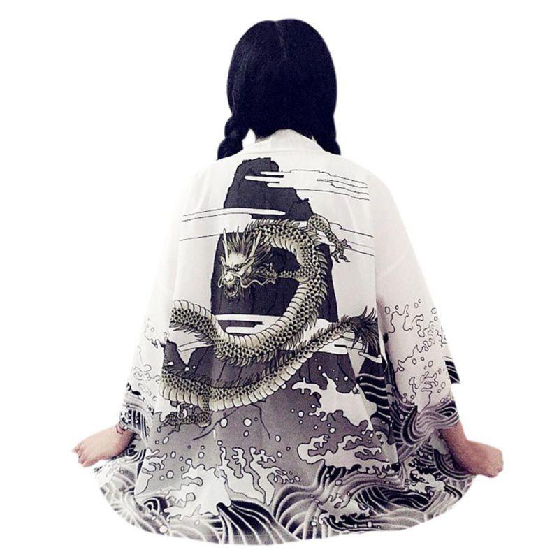 Chaqueta tipo Kimono para mujer, de chifón, estampado con ondas de dragón, protección solar, colección de 2019